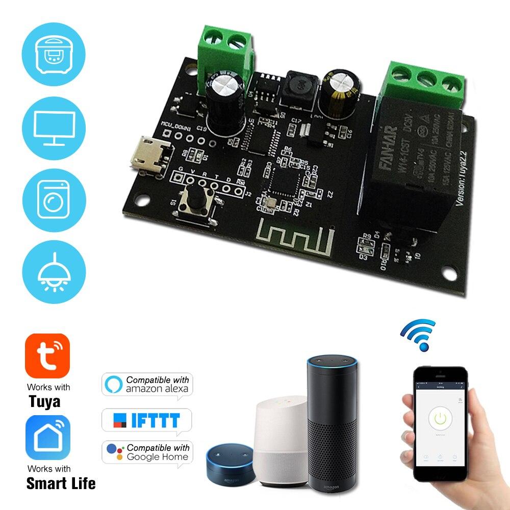 Tuya DC5V 12V 24V 32V WiFi Schalter Drahtlose Relais Modul Single-weg Tipp/Selbst-locking Timing Fernbedienung Schalter APP Fernbedienung