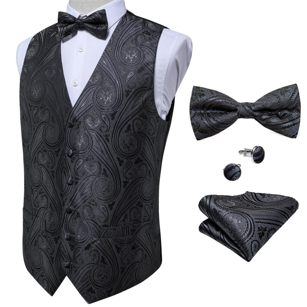 Мужской костюм, жилет для вечерние ринки, свадьбы, Пейсли, Шелковый жилет, Официальный жилет для смокинга, жилет, галстук-бабочка, платок, ком...