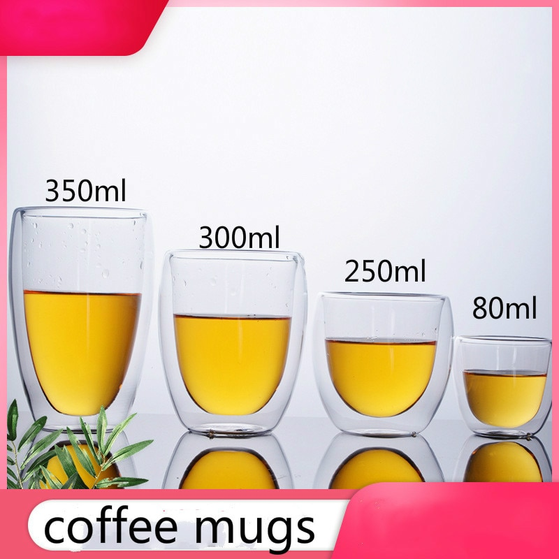 Prix bas 80/250/300/350/450ml Double couche tasse à café jus lait eau verre Transparent résistant à la chaleur tasse à café buveurs