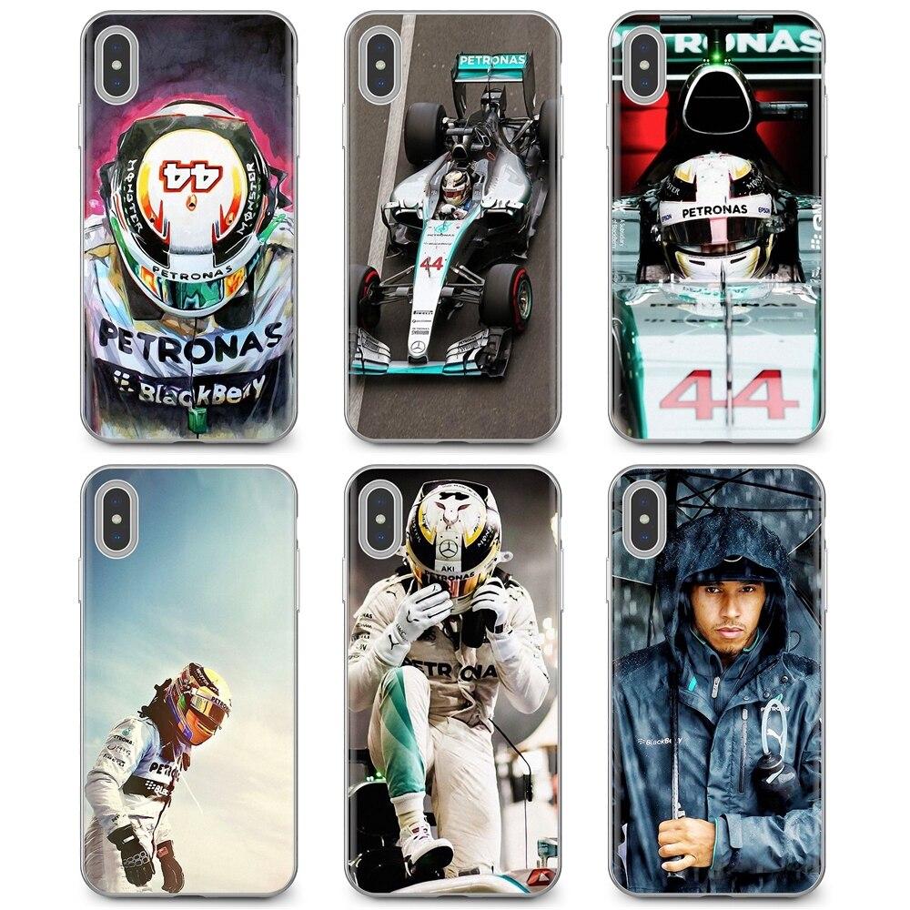 Caso macio do telefone para o iphone 11 pro 4 4S 5 5S se 5c 6s 7 8x10 xr xs plus max para ipod touch lewis hamilton carro de corrida estrela homem