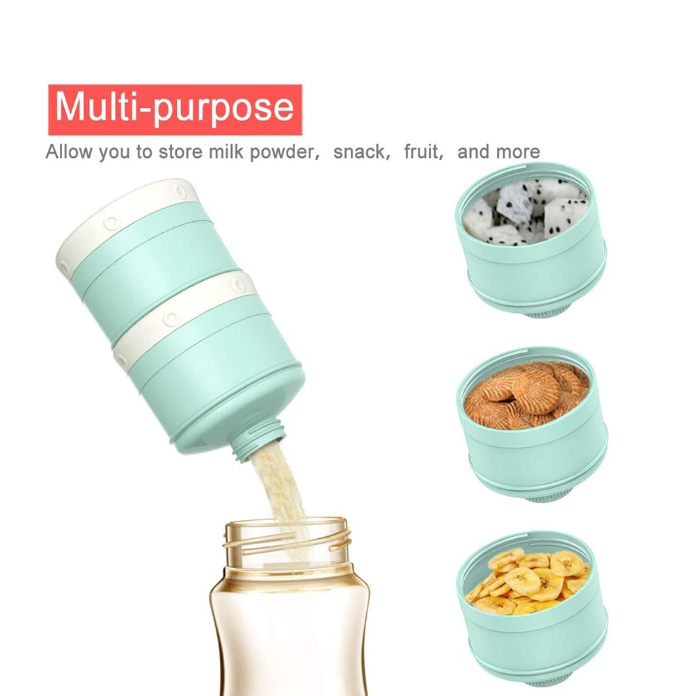 Baby Outdoors Milk Powder Dispenser Large Capacity Non-Spill Twist-Lock Stackable Formula Container Snack Storage 3 Compartment