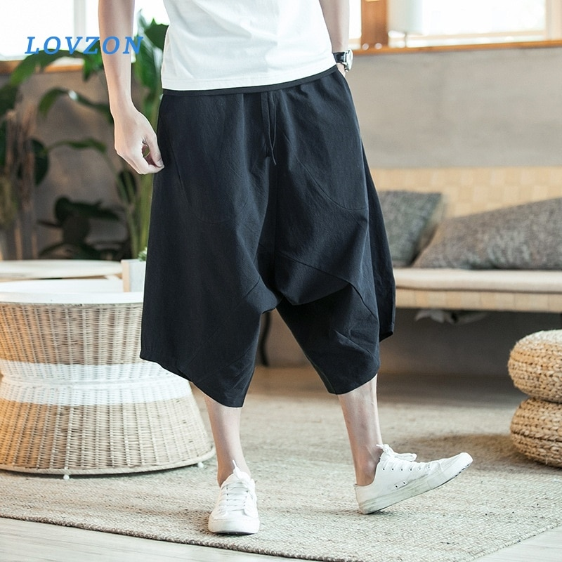 LOVZON Mens Wild Crotch Harem Pants Summer Baggy Pure Cotton Trousers Plus Size Male Wild-leg Loose Drawstring