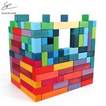 Blocs pyramidaux en bois pour enfants, blocs de construction en arc-en-ciel Jenga, jouets éducatifs danniversaire et denseignement préscolaire, cadeaux pour enfants