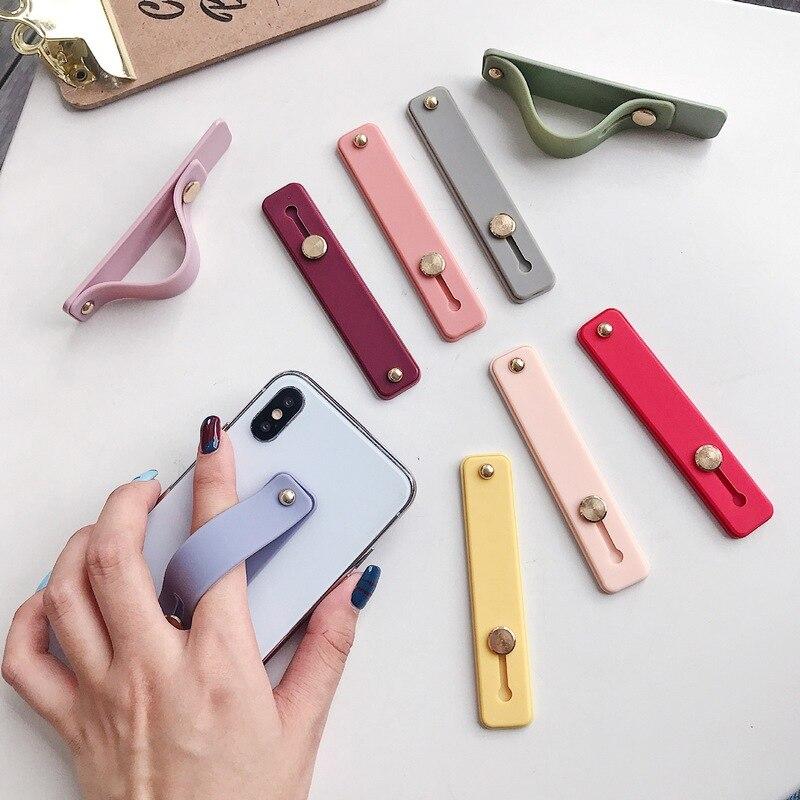Cor lisa Banda Banda Mão de Pulso Dedo Aperto Suporte Do Telefone Móvel Suporte Push Pull Universal Soquete Titular Do Telefone para O Iphone