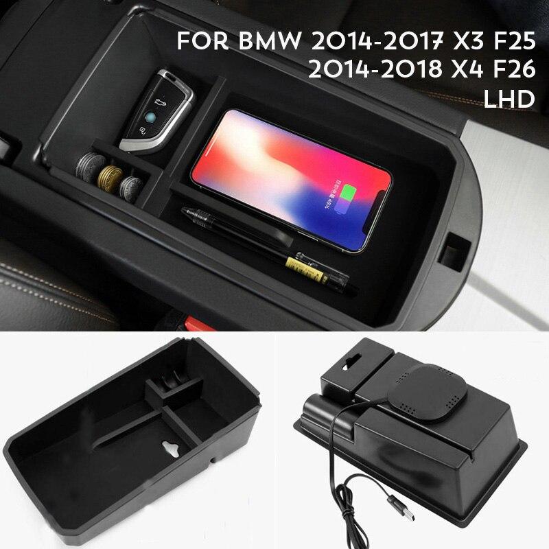 Pour BMW X3 F25 2014-2017 / BMW X4 F26 2014-2018 /BMW X5 F15 2014-2018 téléphone portable sans fil charge accoudoir Central boîte de rangement