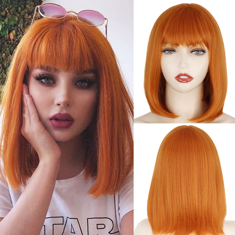 short bob wig with bangs for women synthetic wigs Orange black pink party daily use shoulder length