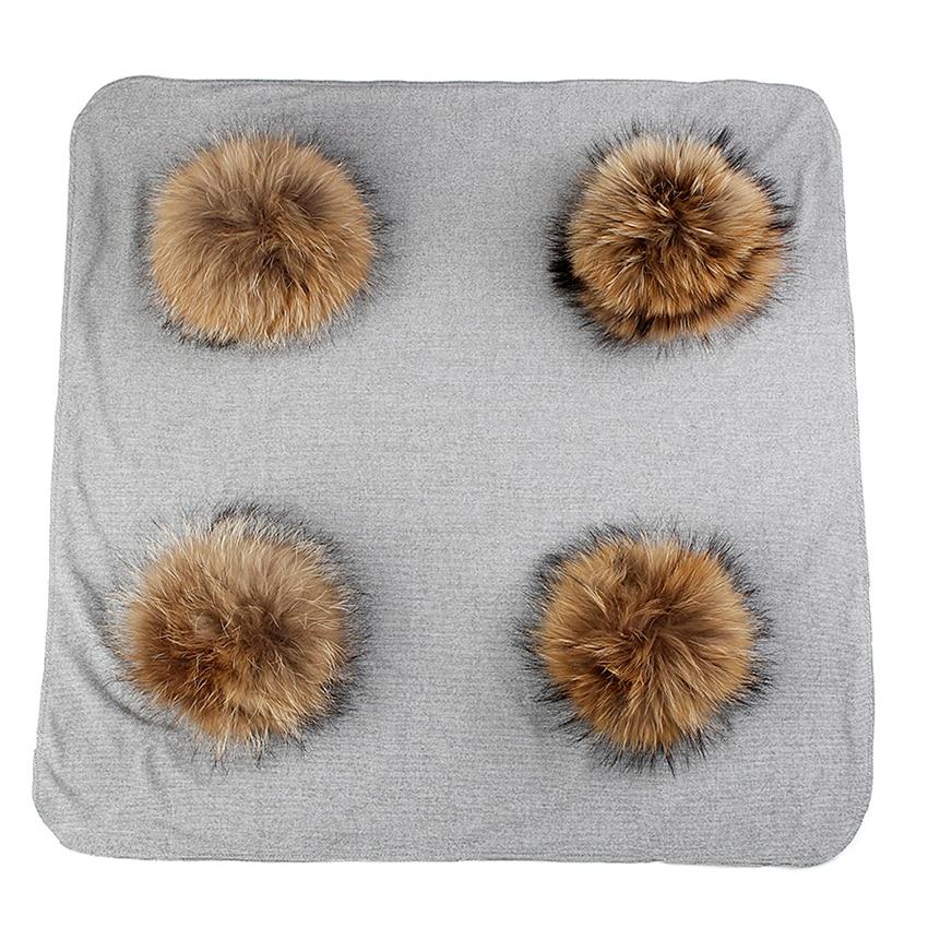 Newborn Kids Baby Warm Cotton Swaddling Blanket Travel Sleeping Blanket With 4 pcs 20cm Big Real Fur Pompom Bedding Swaddles Wra