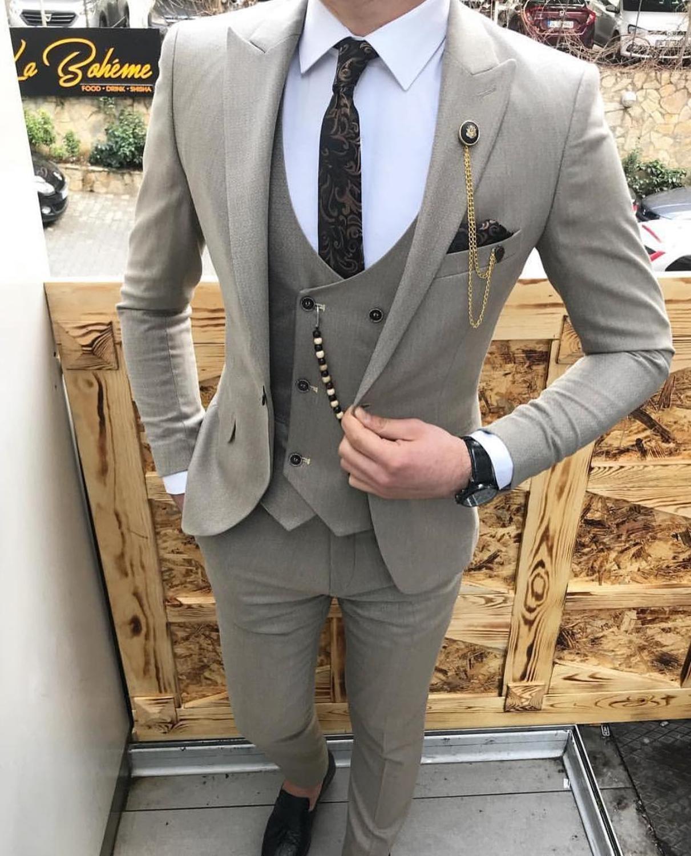 Fashion Mens Suits 3 Pieces Prom Tuxedos Notch Lapel Groomsmen Wedding ,Grey/Beige/Royal Blue(Blazer+Vest+Pants)