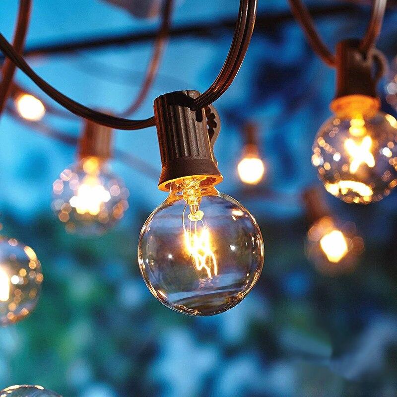 Light String G40 Globe Filament Bulb Festoon E12 Base 25ft EU US UK Plug for Outdoor Commercial Decor Wedding Patio LED Lamp