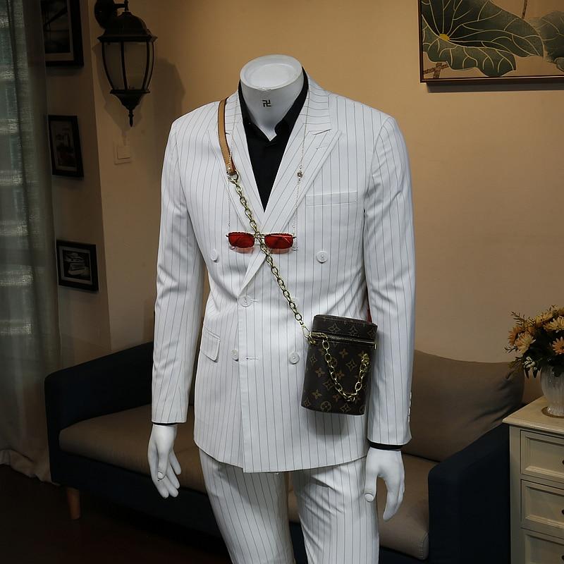 XM GeeKi الربيع و الصيف بدلة عمل الكورية سليم صالح الأبيض شريط مزدوجة الصدر الزفاف العريس دعوى الرجال معطف
