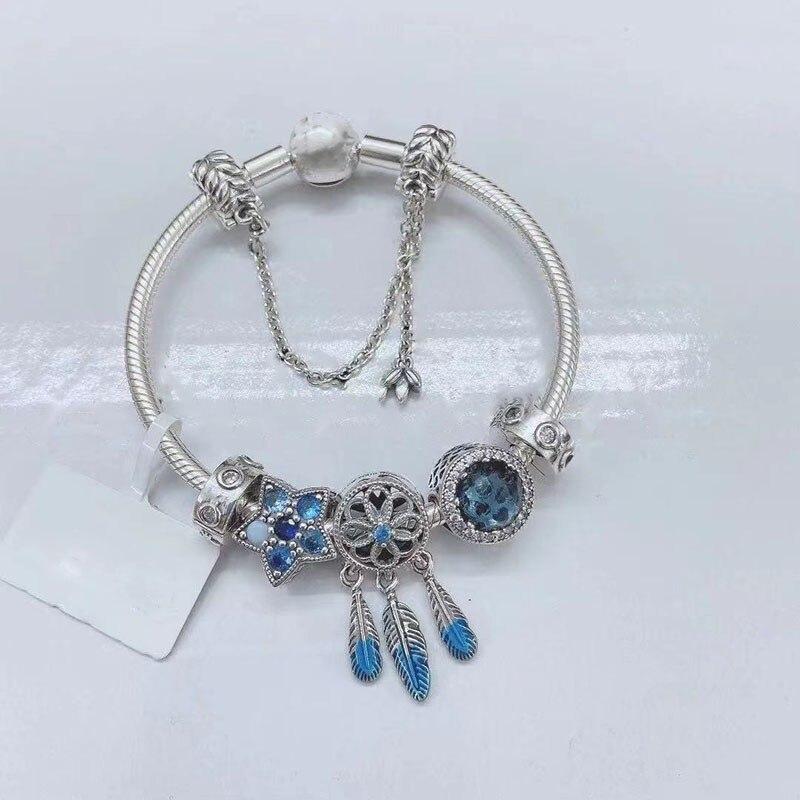 Hot البيع 925 فضة الأزرق الظل Catching Charm مع الكلاسيكية سوار مستدير مناسبة للنساء هدية حفلة Jewelry بها بنفسك مجوهرات