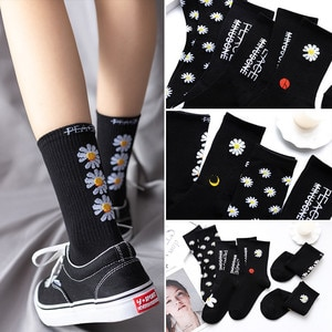 Women Korea Funny Socks Long Socks Black Cool Socks Harajuku GD Hip Hop Cotton Skateboard Socks Men New Trend Daisy Socks Men