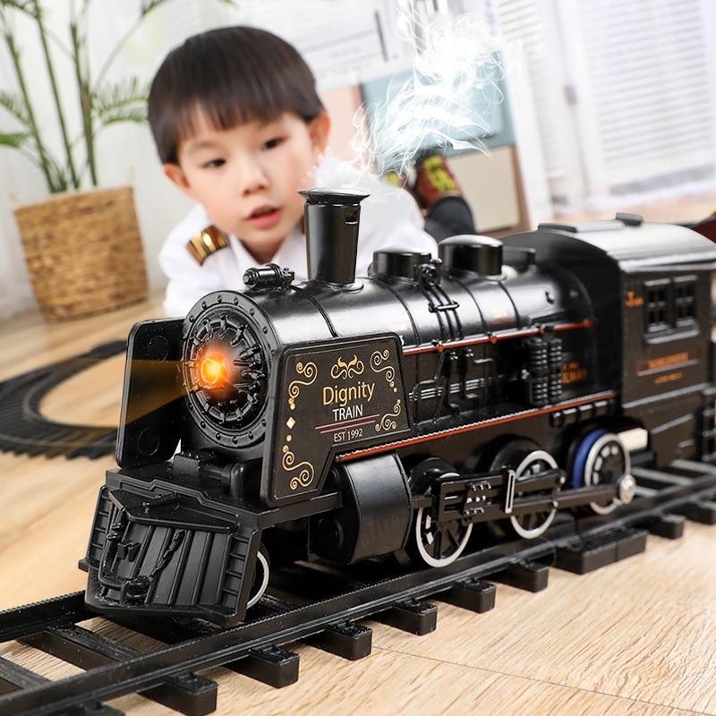Tren Eléctrico de juguete rieles Control remoto tren de ferrocarril modelo de trenes dinámica vapor RC trenes modelo de simulación juguete para regalo