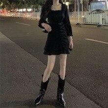Korean Chic Dark Style Square Collar Dress Women's Spring Waist Slimming High Waist A- line Hip-Wrap
