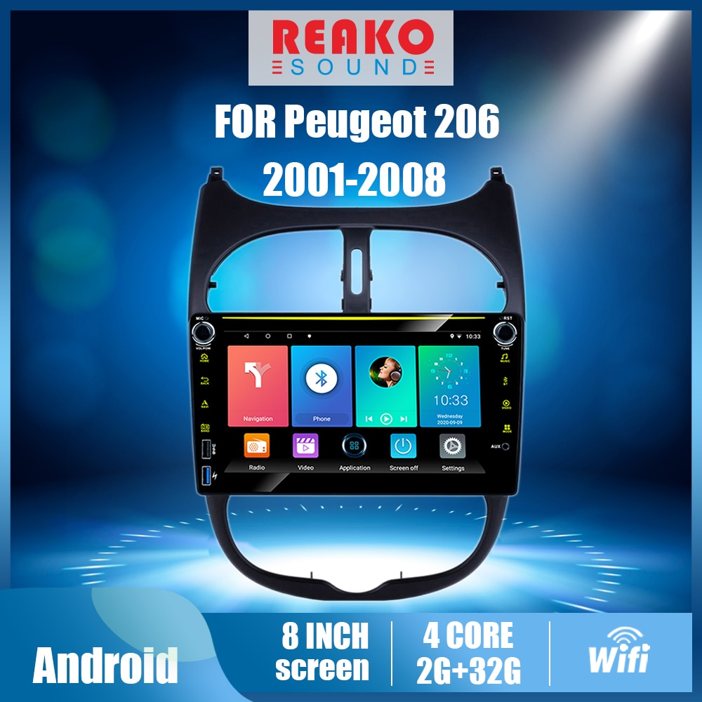 REAKOSOUND 8 ''2 الدين راديو السيارة لبيجو 206 2001-2008 مشغل وسائط متعددة واي فاي أندرويد RDS DSP لتحديد المواقع لاعب الملاحة