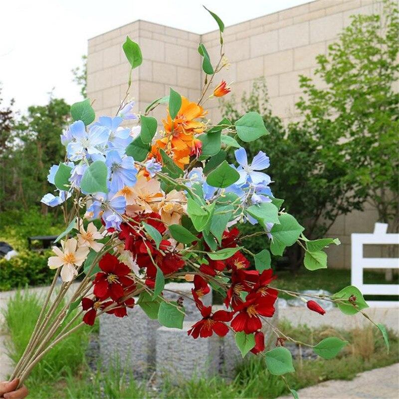 """10 Uds postizas largas Stem Cosmos (5 tallos/pieza) 35,43 """"Simulación Flor de Galsang para decoración para hogar y boda flores artificiales"""