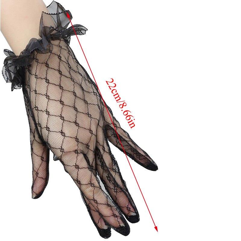 Перчатки для защиты от солнца, женские перчатки, белые перчатки, сетчатые перчатки, перчатки с закрытыми пальцами, кружевные перчатки, прозр...
