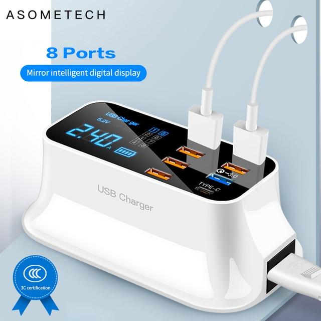 Зарядное устройство с 8 портами USB, быстрая зарядка 3,0, ЖК дисплей, зарядное устройство для телефонов Android, iPhone, быстрая зарядка для xiaomi, huawei, samsung