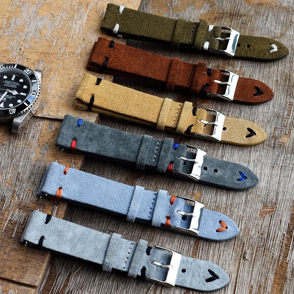 Gamuza de alta calidad Reloj de piel Vintage correas azul correas correa...