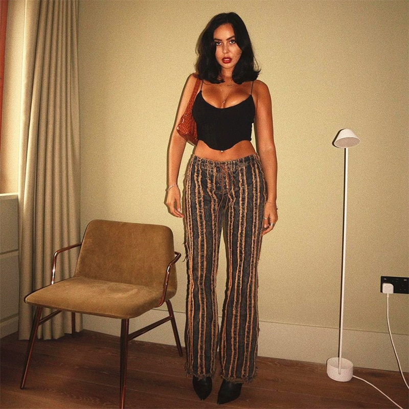 2021 Women Vintage Jeans Denim Pants Burr Patchwork High Waist Bandage Joggers Casual Streetwear Bot