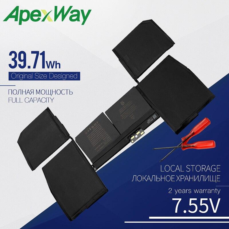 "Apexway A1527 batería de ordenador portátil para APPLE MacBook 12 ""Retina A1534 (2015-2016 año) MF855 MJY32 MK4M2 7,55 V 39.71WH"