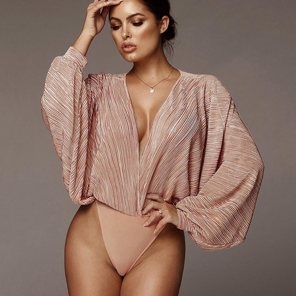 Deep V-Neck Patchwork Sexy Bodysuit Women Fashion Long Sleeve Loose Women Rompers Autumn Casual Bodysuit Jumpsuit 2019