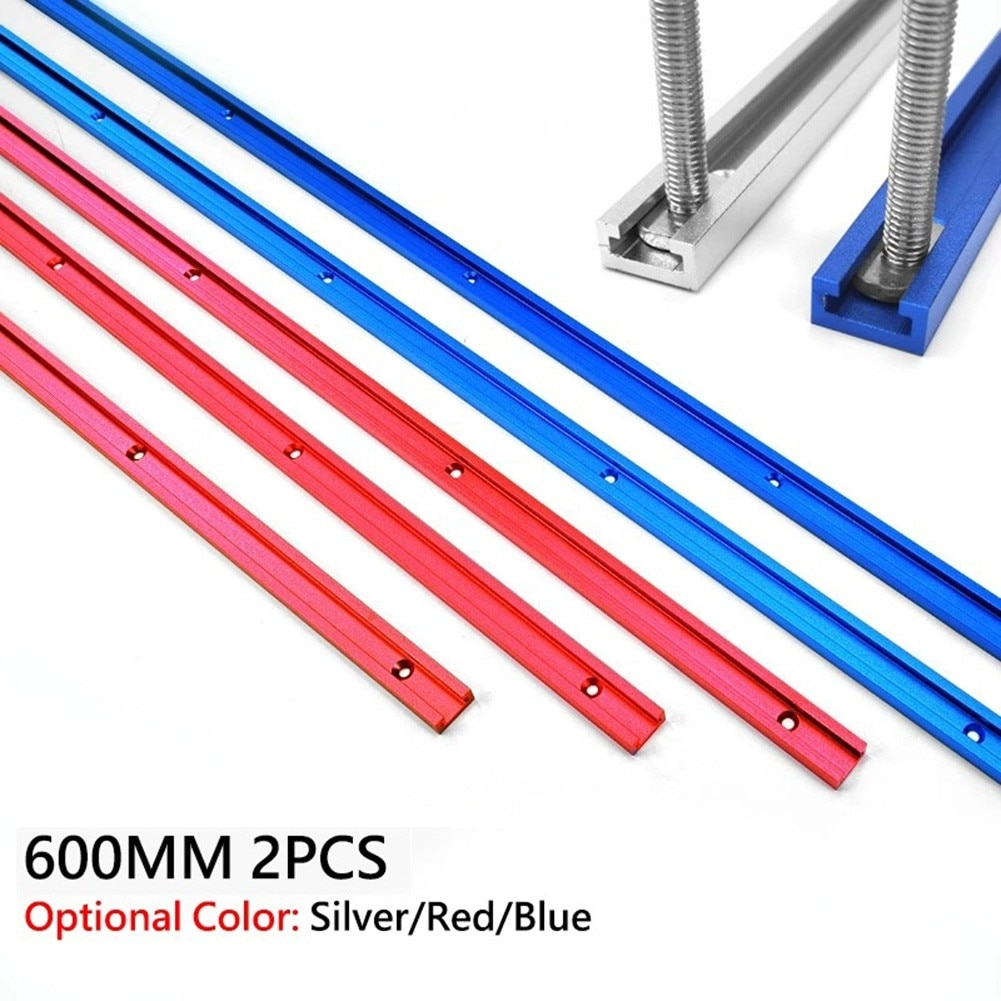 2PCS Aluminium Alloy 600mm T-Track T-Slot Miter Jig Tools For  T Screws Woodworking Router Table Workbench DIY Tools