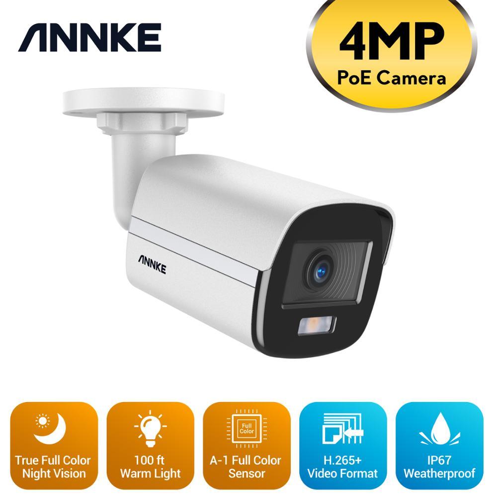ANNKE 1 قطعة 4MP كامل اللون PoE IP كاميرا IP67 في الهواء الطلق مانعة الأمن شبكة قبة الإكسير للرؤية الليلية البريد الإلكتروني تنبيه CCTV كيت