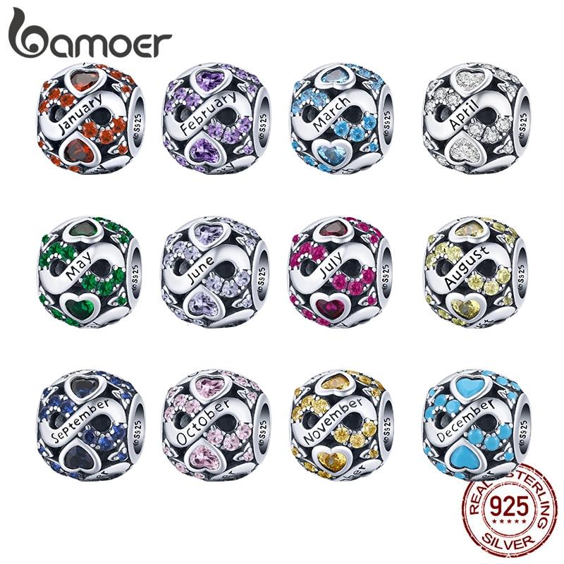 AliExpress - bamoer 925 Sterling Silver Multiple Crystal Color Infinite Love Birthstone Bead Charm for Original Bracelet Bangle Women Jewelry