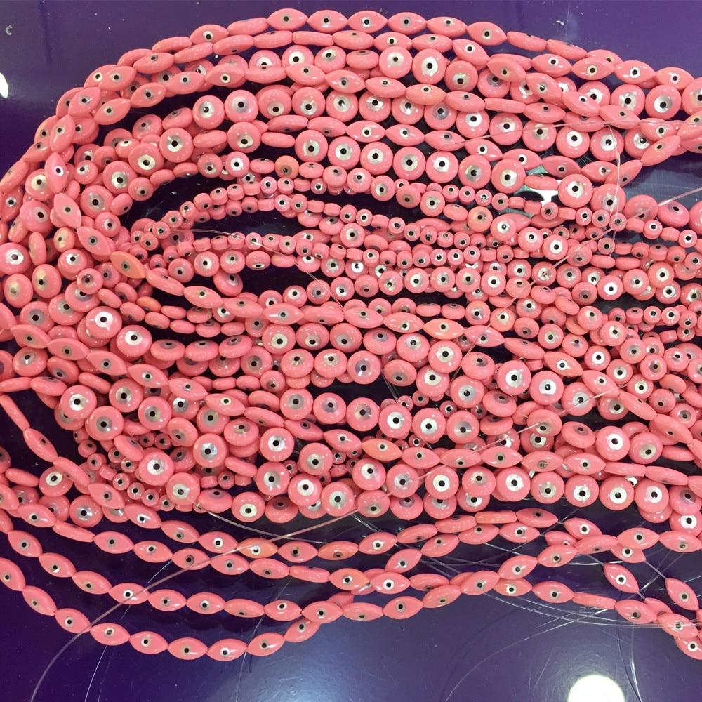 10 Uds. Perlas naturales de concha 4/6/8mm Evil Eye hallazgos de joyería DIY perlas redondas de color rosa para la fabricación de collares y pulseras