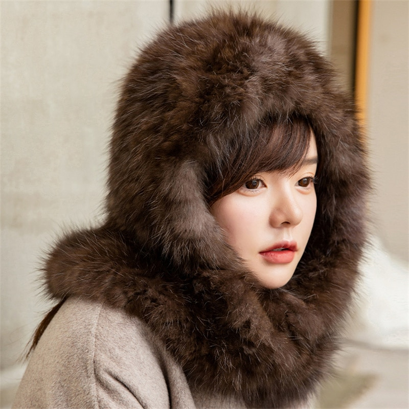 High-End Fashion New Sable Hat Female Winter Fur Sable Scarf Hat And Scarf One Plush Hat Thickened Warmth And Cold-Proof Scarf