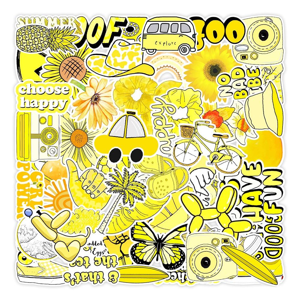 Стикеры в стиле Vsco INS желтые, аниме, гитара, ноутбук, чемодан, скейтборд, телефон, граффити, игрушка, Мультяшные эстетические Стикеры, 10/30/50 шт.