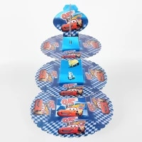 cars theme 3 tier cardboard cupcake stand hold paper cake rack baby birthday party decorations supplies