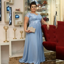 Blue Chiffon Long Mother of the Bride Dresses Plus Size Short Sleeves Formal Occasion Evening Gowns