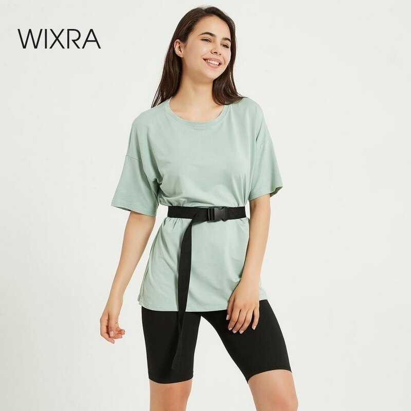 Wixra-طقم نسائي من قطعتين ، ملابس ترفيهية ، مع حزام ، تي شيرت بأكمام قصيرة ، شورت غير رسمي ، لفصل الصيف