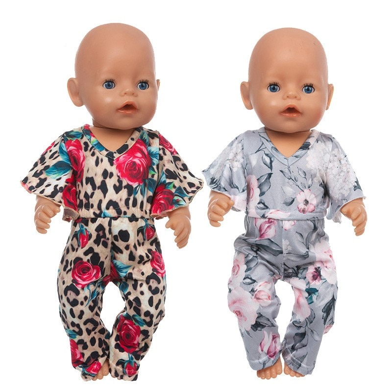 Fit 17 inch 43cm Born New Baby Doll Clothes Accessories Leopard Print Clothes Suit For Baby Birthday