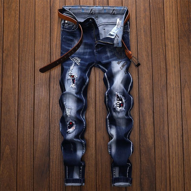 الرجال الجينز جان أوم بنطلونات ممزق سليم سراويل جينز السائق جودة عالية الذكور مستقيم عادية مصمم الشارع الشهير مودا Hombre