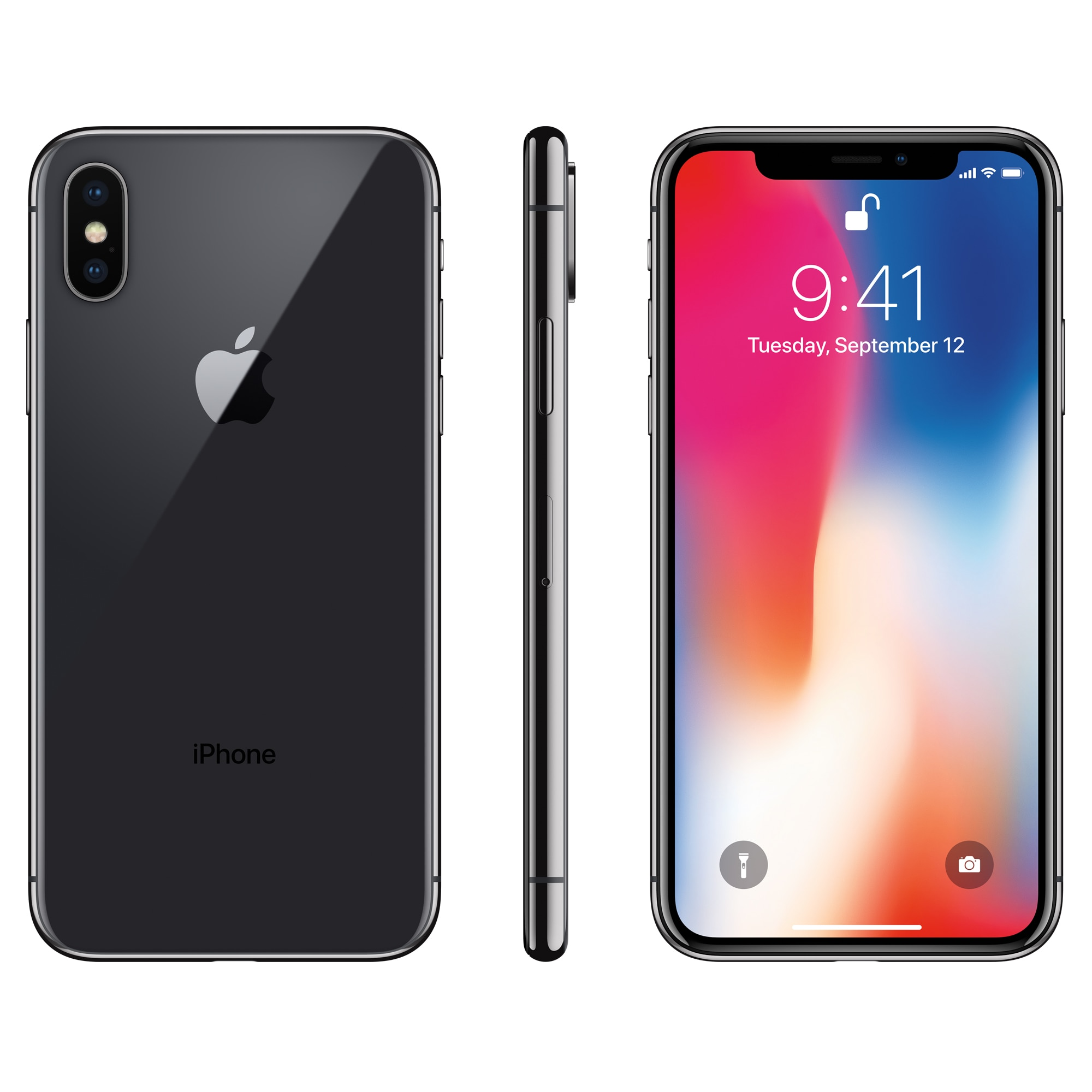 Смартфон iPhone X, разблокированный, 3+64/256 Гб, экран 5.8дюйм , камера 12 мп, функция Face ID, процессор Hexa Core, iOS A11, двойная камера