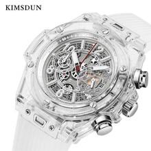 KIMSDUN homme mode tendance luxe sport Quartz chronographe montre montre transparente militaire classique Silicone Relogio Masculino