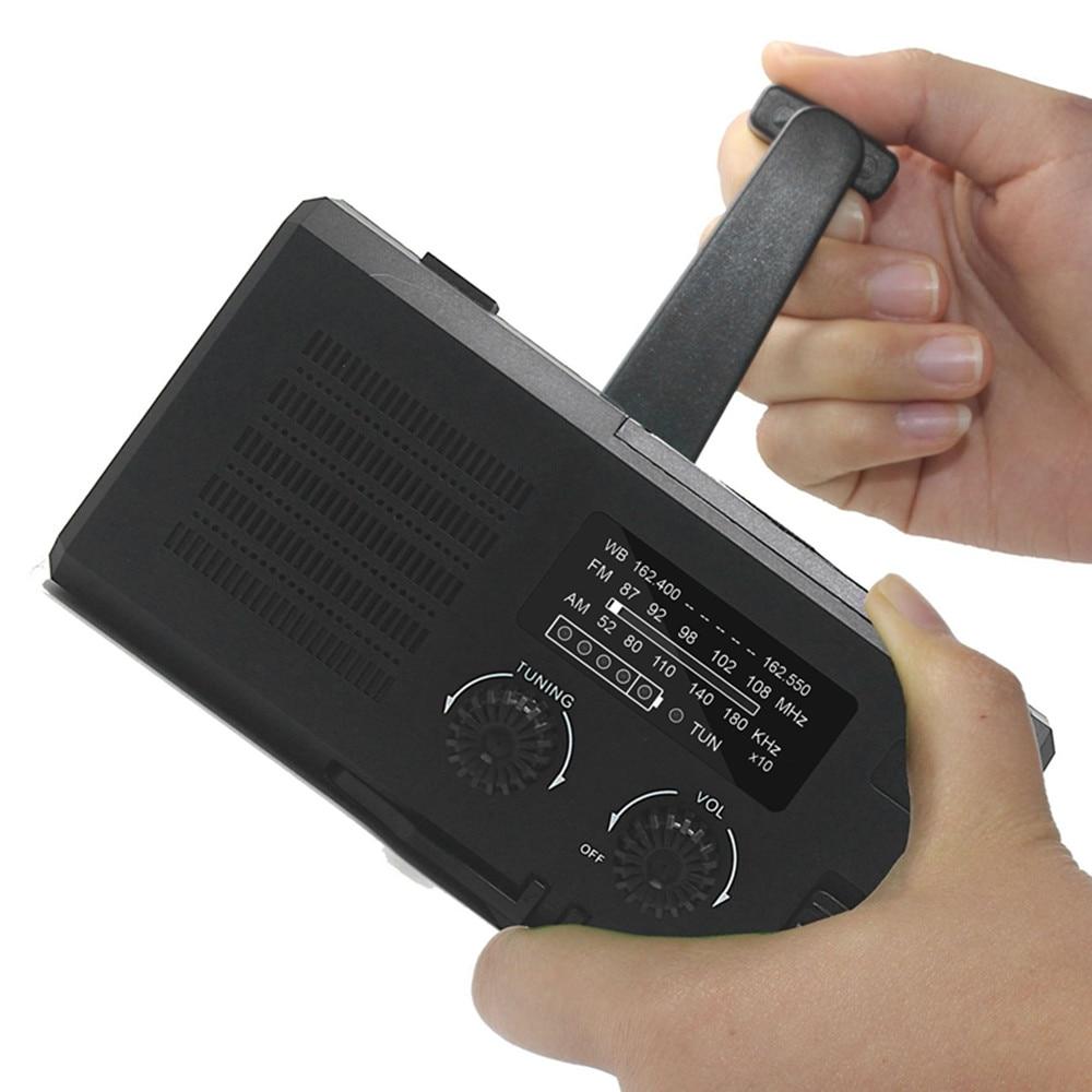 Portable AM FM WB Radio Hand cranked Solar Emergency Power Bank Illumination Flashlight SOS Flashing Light Mobile Phone Holder enlarge