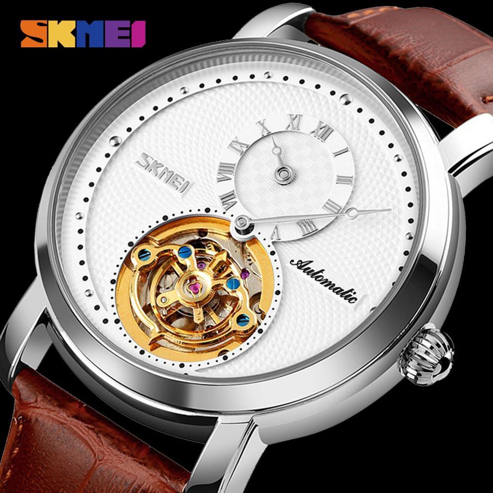 SKMEI Fashion Business Automatic Watch Men Mechanical Wristwatches Mens Gyro Decoration Leather Strap Clock Relogio Masculino