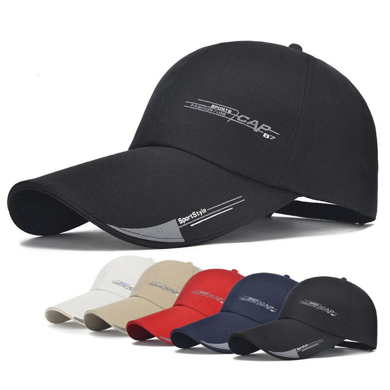 2020 Sports Cap Mens Hat For Fish Outdoor Fashion Line Baseball Cap Long Visor Brim Shade Snapback Sun Hat Bone Gorras