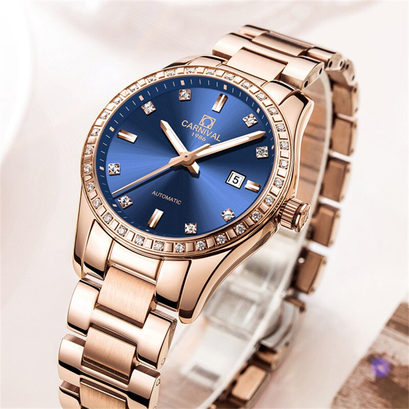 CARNIVAL New Casual Elegant Calendar Luminous Waterproof Rose Gold Stainless Steel Strap Automatic Mechanical Watches Women 8685