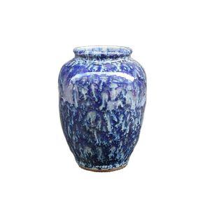 China Old Porcelain Vase Blue Glazed Porcelain Vase