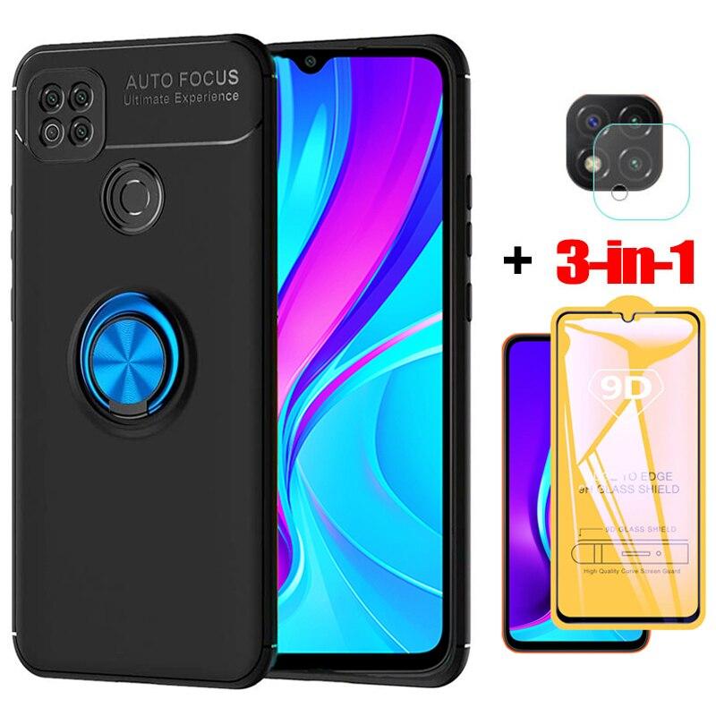 3-in-1, Phone Cases + Glass for Redmi 9C Magnetic Ring Silicone Screen Protector Cover Redmi 9 C Xiaomi Redmi 9C NFC Case