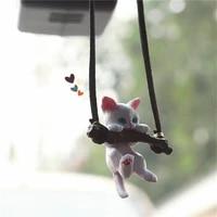 car pendant creative cute branch cat rearview mirror pendant car interior decoration for girls car interior accessories