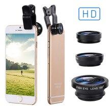 Fisheye Lens 3 In 1 Lenses Mobile Phone Clip Lens Wide Angle Lens Camera Macro For IPhone Xiaomi Hua