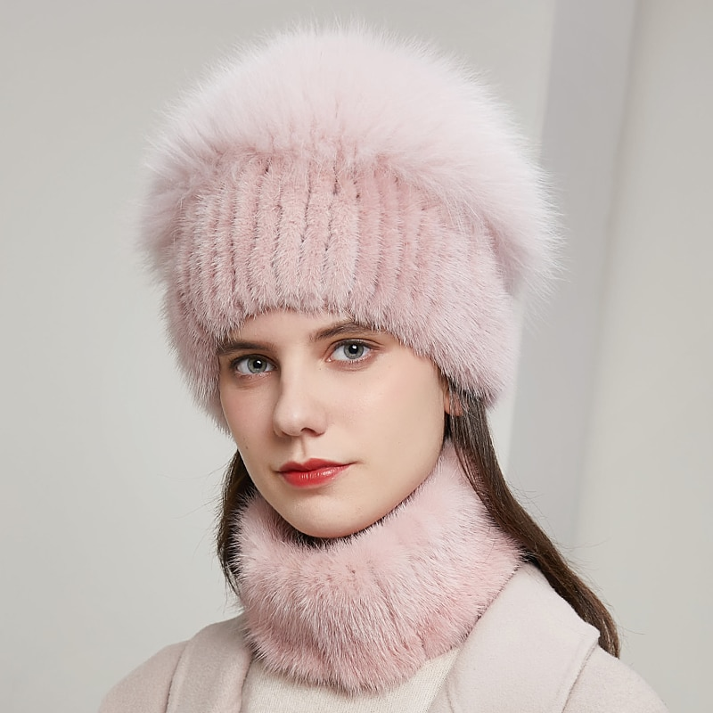 Ladies winter new fur hats real mink fur hats silver fox pompon knitted woolen hats  warm and fashionable fur hats  20HY-08