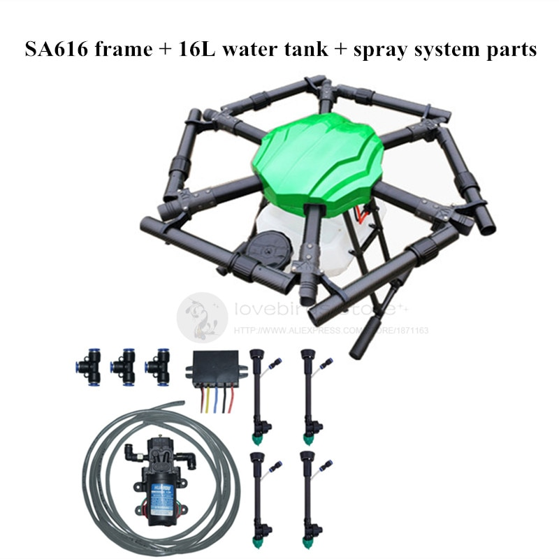 SA616 16L agricultura Dron rociador 16KG 1650mm 6 eje hexacopter impermeable kit de Marco