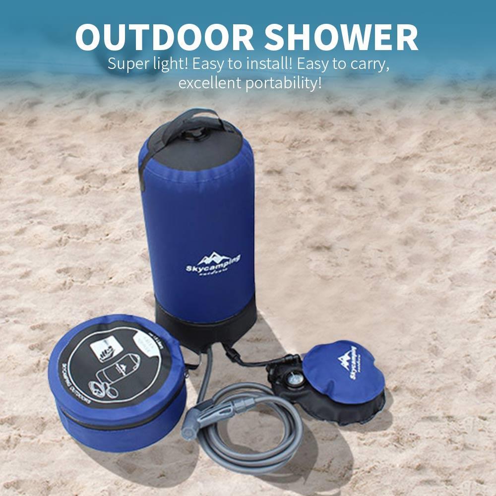 Bolsa de ducha de 40/20/11L con energía Solar, con bomba para pies, bolsa de ducha para exteriores, bolsa de ducha con calefacción, bolsa plegable para campo de baño, agua caliente, senderismo
